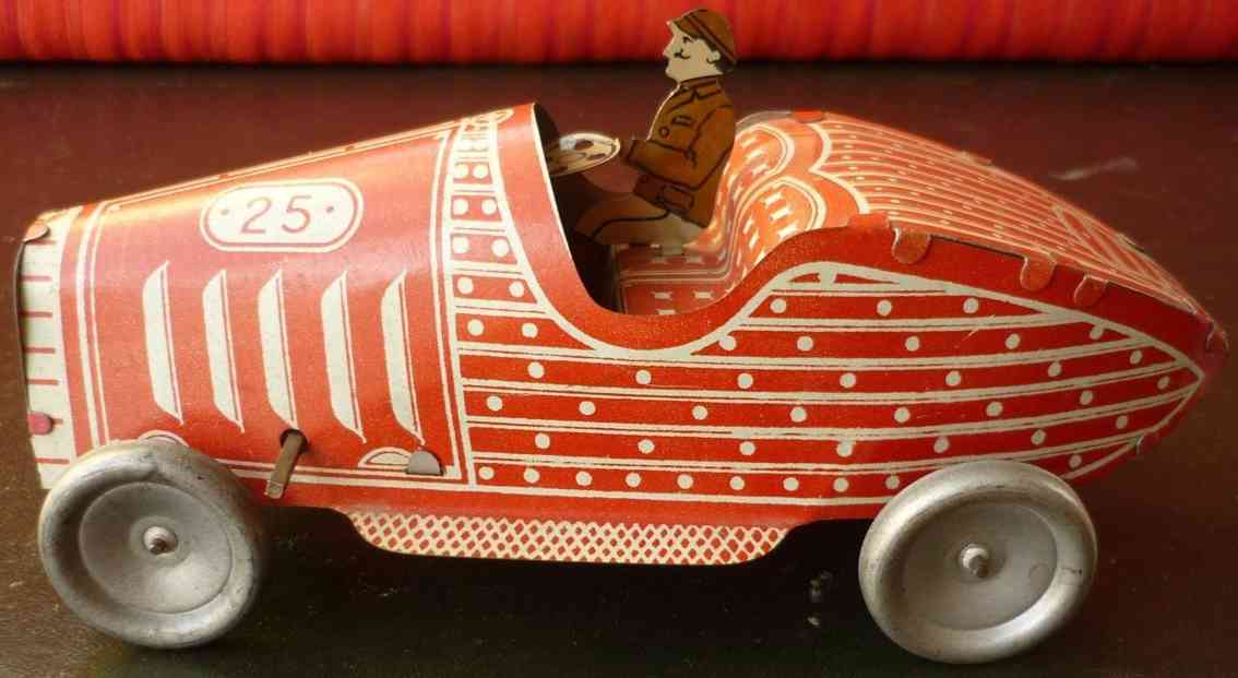 j.m.l. co tin toy race car wind-up boat tail driver