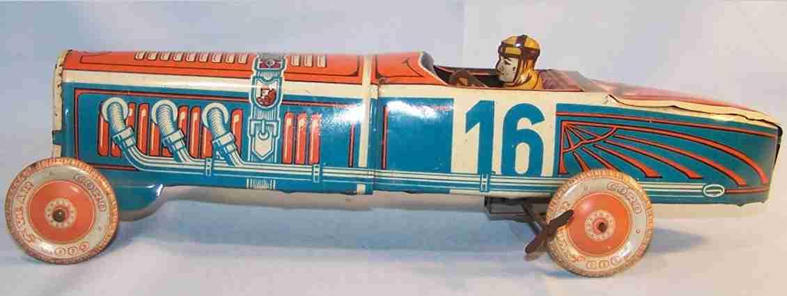 jnf neuhierl 16 blech spielzeug rennauto rennwagen mit uhrwerk fahrer blau