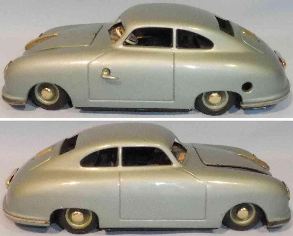 jnf neuhierl 356a blech spielzeug auto porsche bremslicht uhrwerk metallic blau