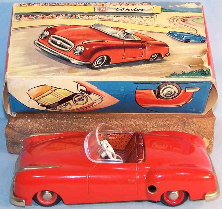 jnf neuhierl 59 tin toy car condor cabrio clockwork in red