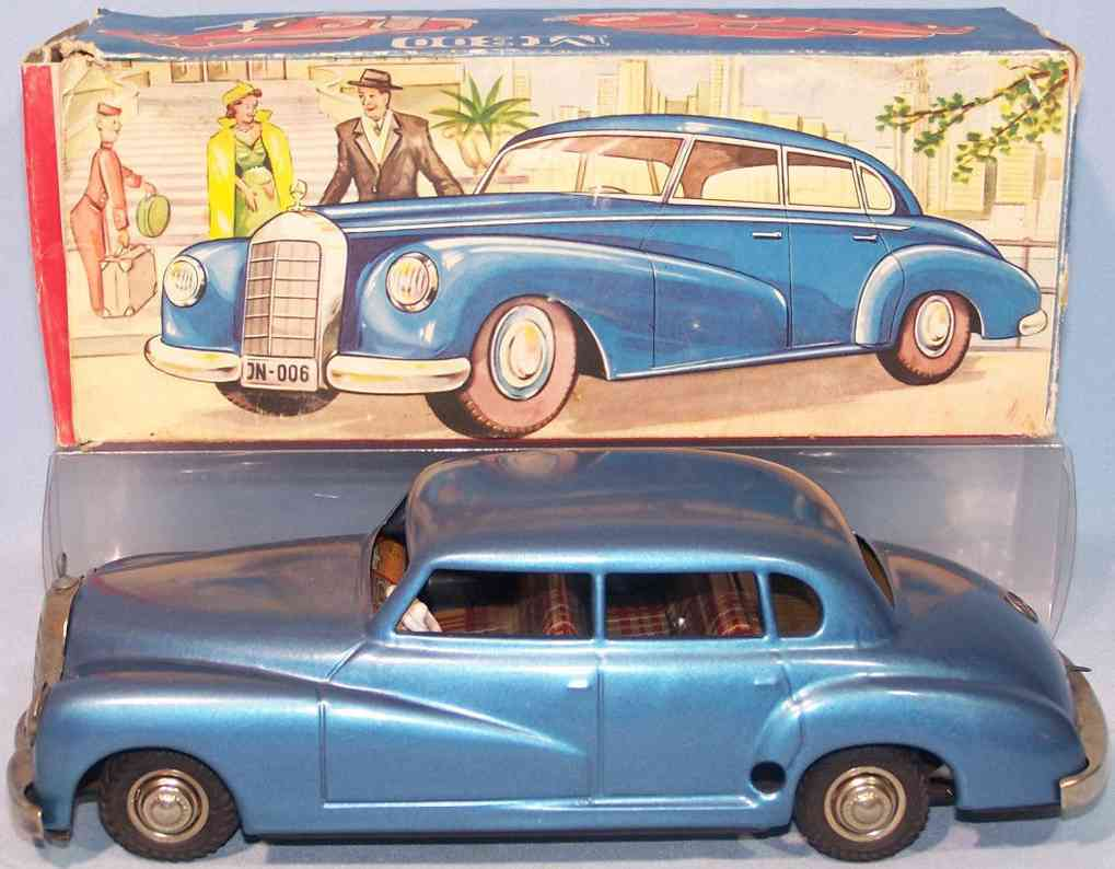 jnf neuhierl 67 tin toy car adenauer mercedes m300 clockwork blue metallic