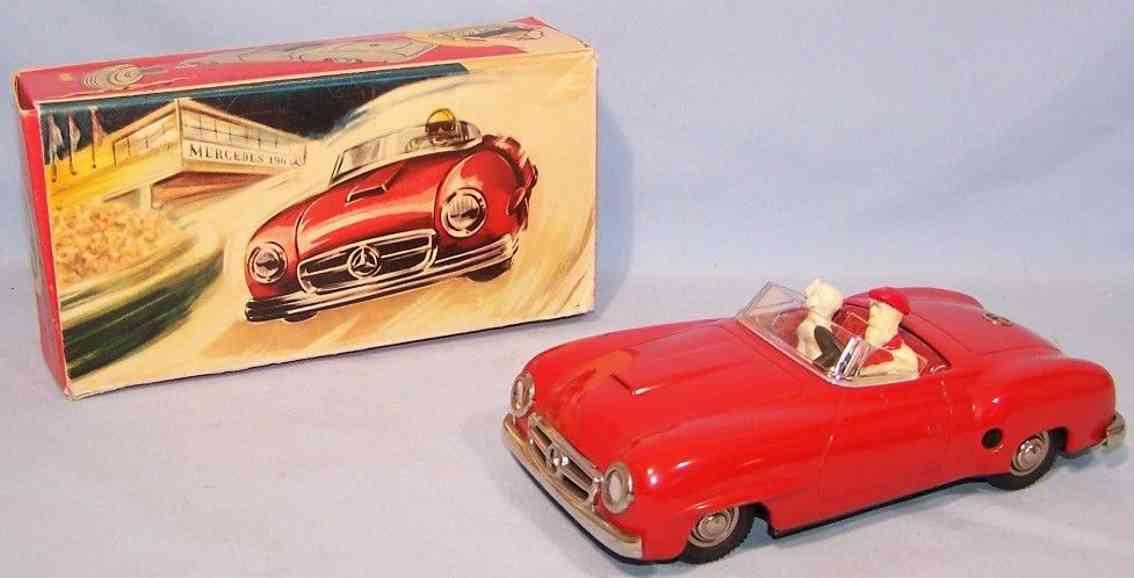 jnf neuhierl 75 tin toy car mercedes  red driver dog
