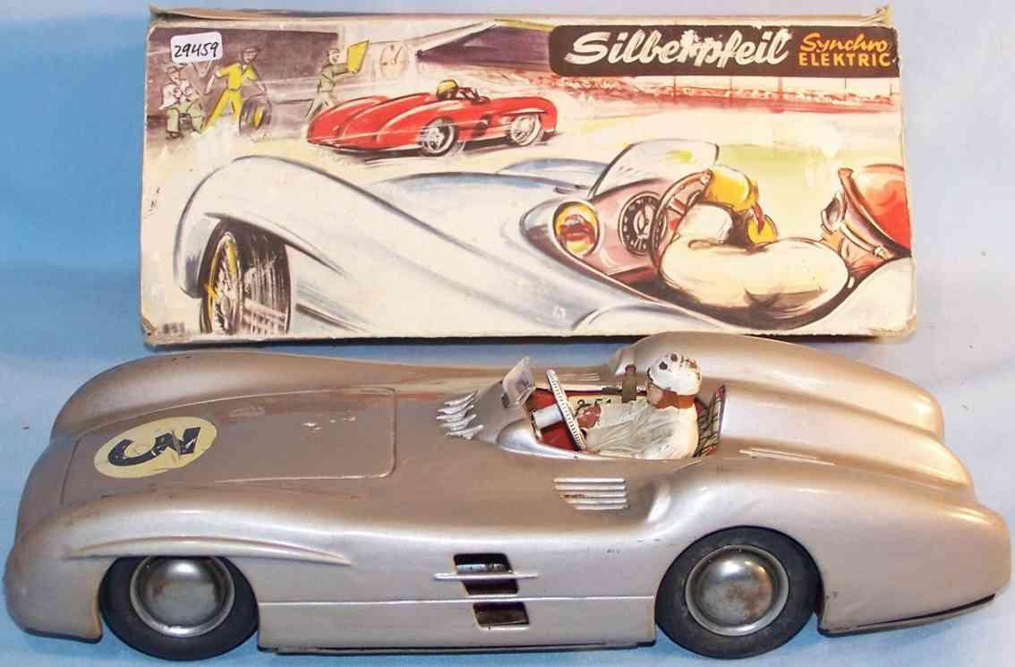 jnf neuhierl 79 tin toy race car mercedes silver arrow synchro electric silver