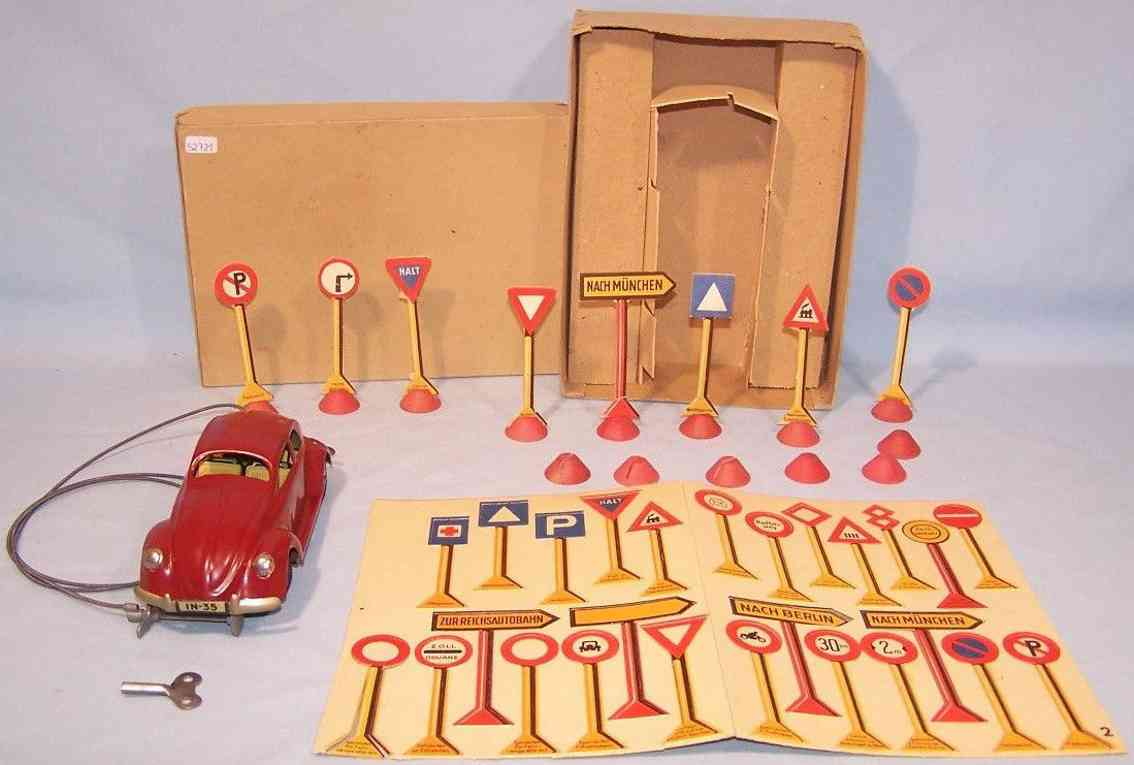 jnf neuhierl tin toy car driving school car vw pretzel beetle red