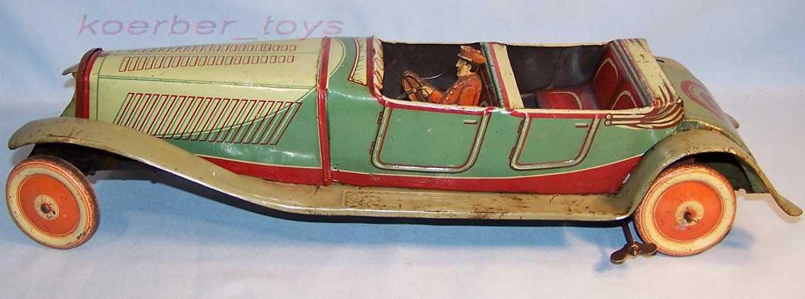 jnf neuhierl tin toy car convertible driver clockwork green