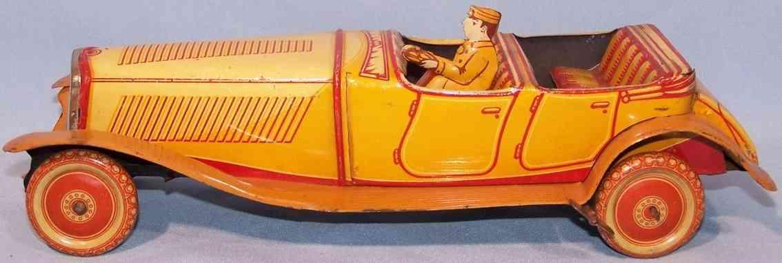 jnf neuhierl blech spielzeug auto cabriolet orange braun fedewerk