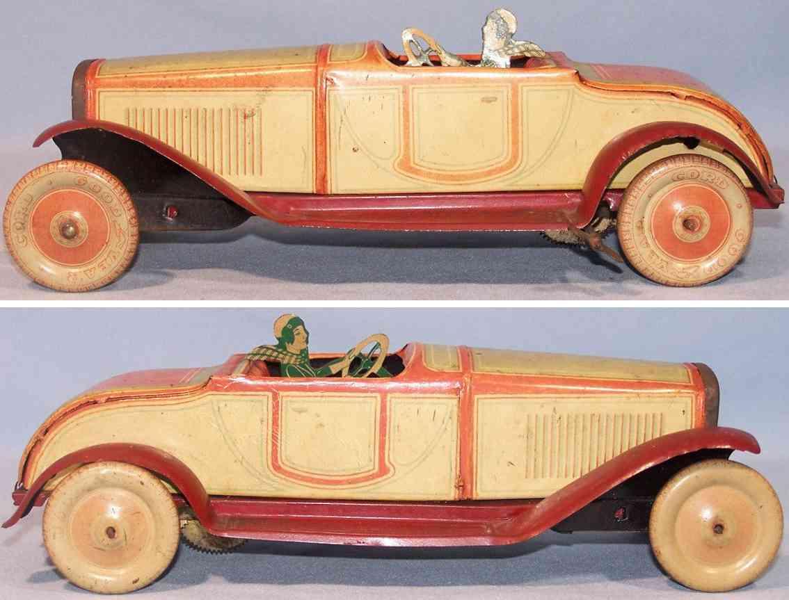 jnf neuhierl tin toy car cabriolet clockwork beige red