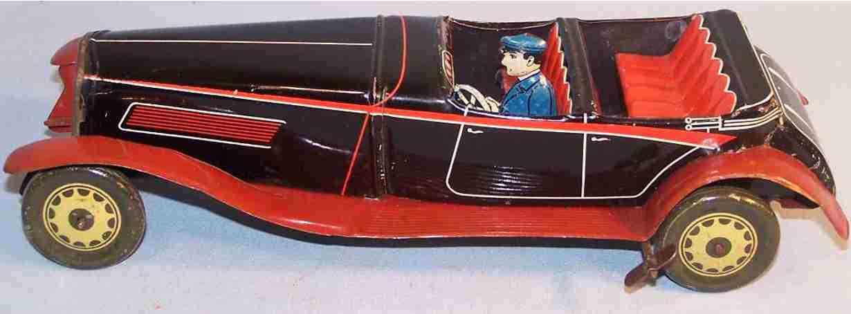 jnf neuhierl tin toy car  convertible car black clockwork