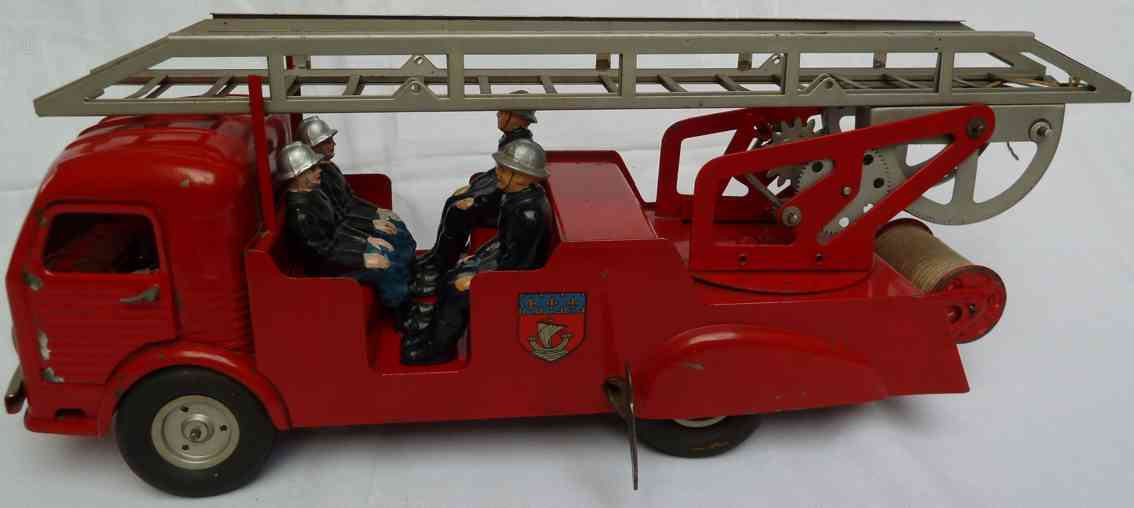 jrd tin toy fire engine simca ford cargo type fw09 fire ladder wagon