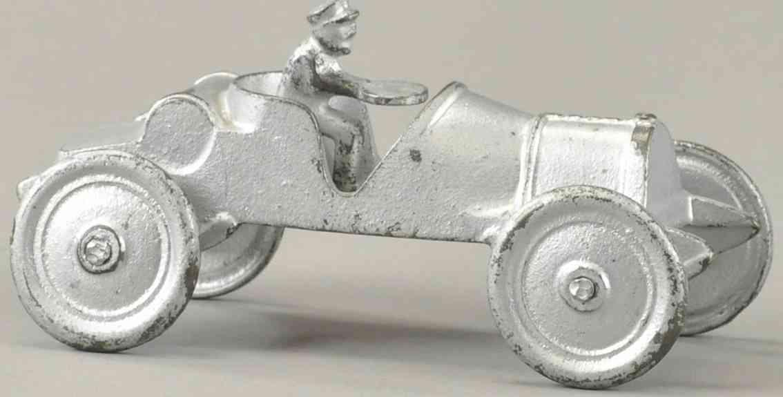 jones & bixler spielzeug gusseisen rennauto rennwagen silberfarben