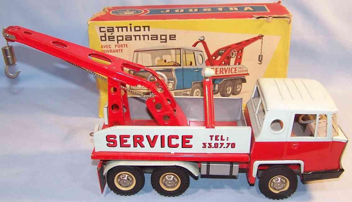 joustra 246 blech spielzeug lastwagen abschleppwagen, lithografiert in mint und rot, mit abnehmbar