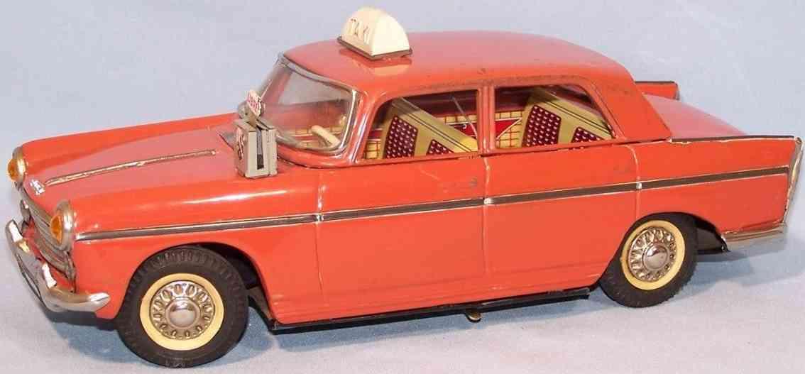 joustra 404 tin toy car peugeot taxi redorange battery