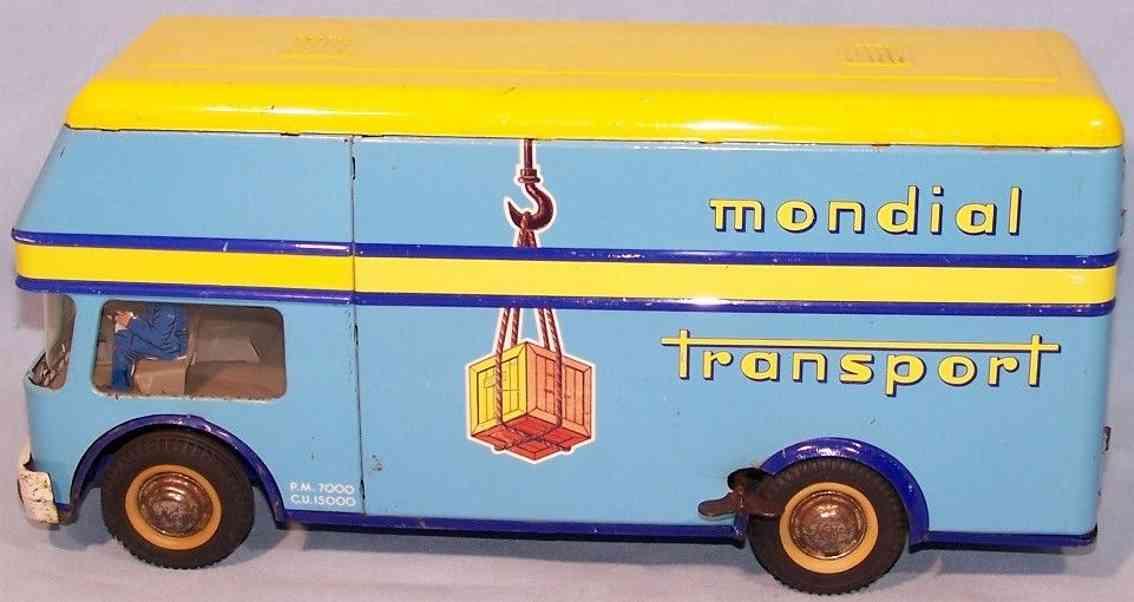 joustra 432 blech spielzeug mondial transport franzoesischer transporter uhrwerk