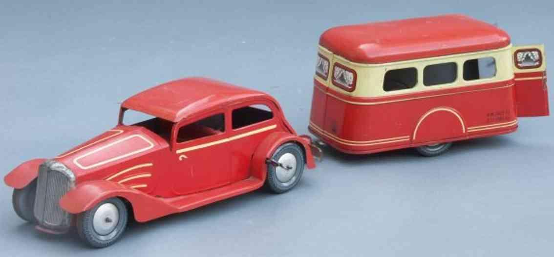Joustra G-67 Auto Citroen mit Uhrwerk und Wohnwagen in rot