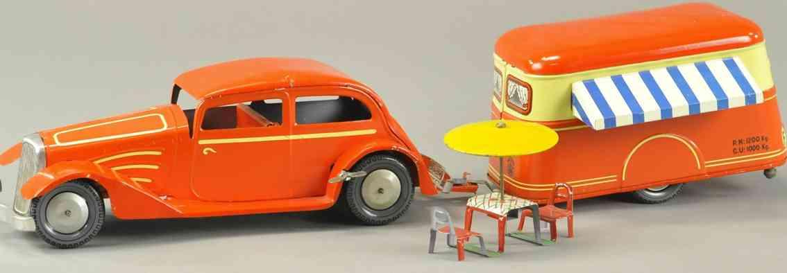 joustra blech spielzeug auto limousine mit wohnmobil-anhaenger