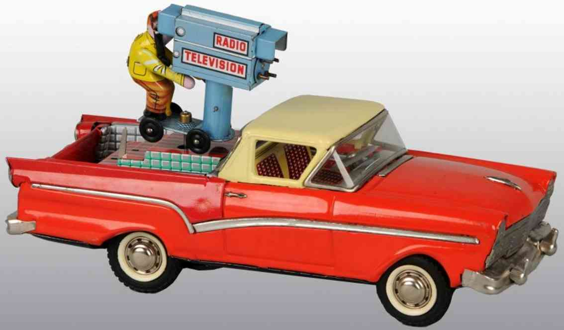 joustra tin toy ford rachero television camera man car