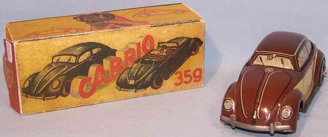 kellermann 358 tin toy car convertible made of tin brown yellow