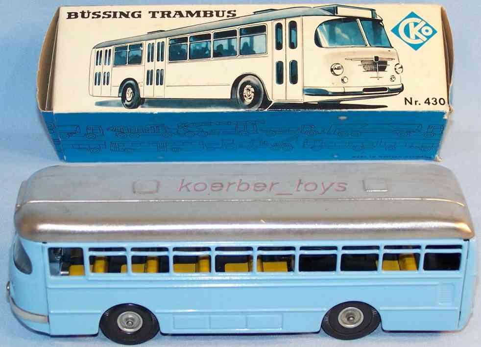kellermann 430 blech spielzeug autobus büssing trambus mit friktionsantrieb in himmelblau und silbe
