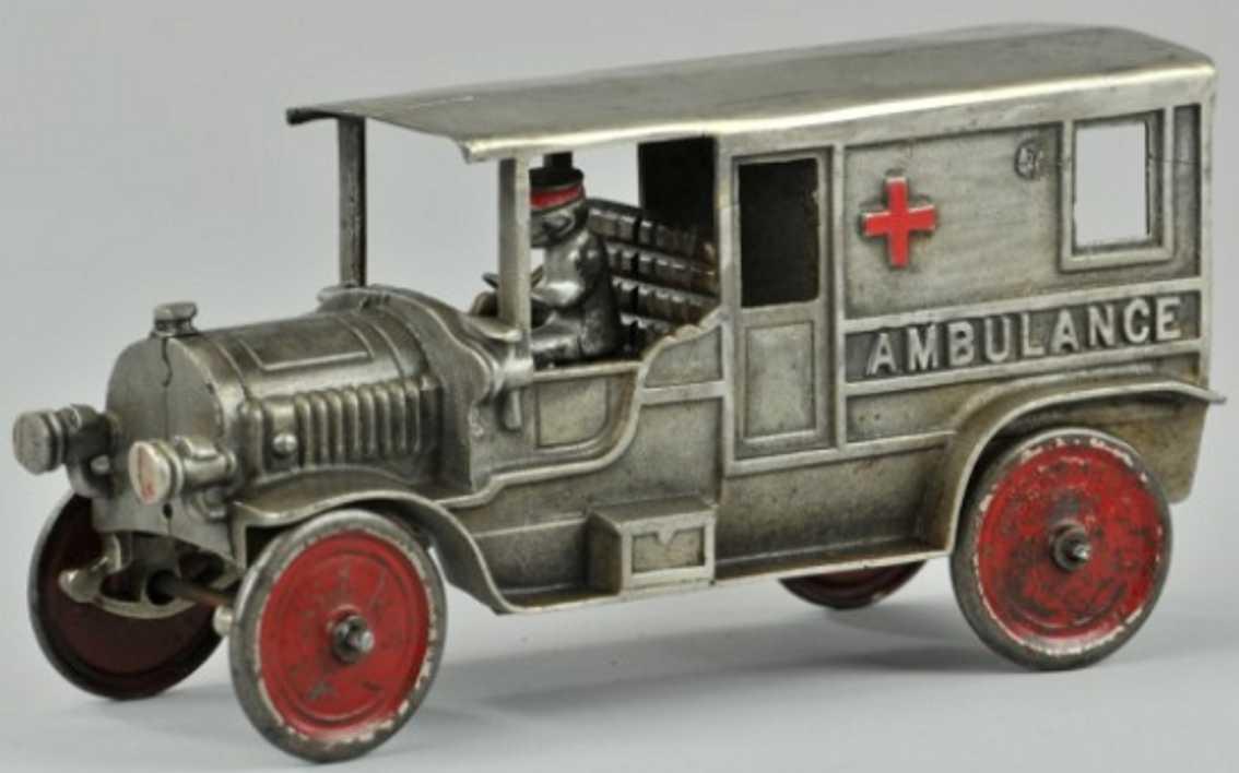 kenton hardware co 1603 spielzeug gusseisen krankenwagen vernickelt