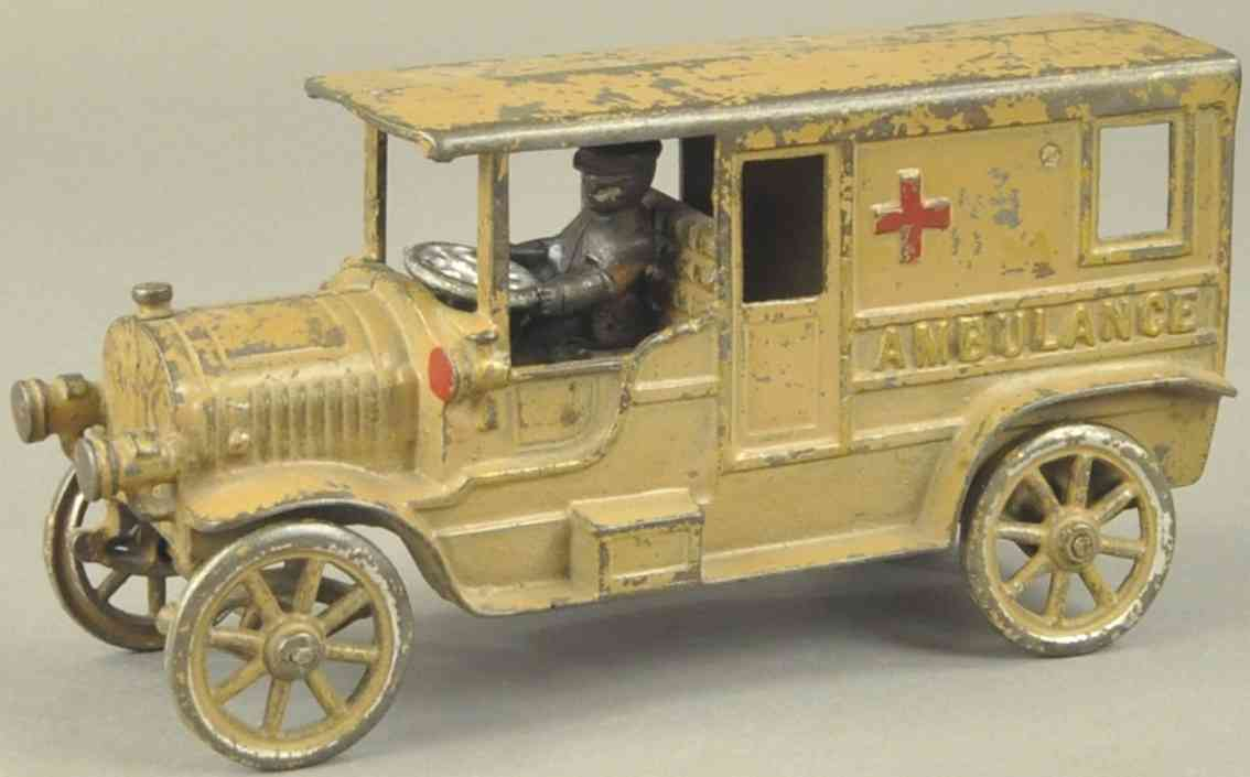 kenton hardware co 1603 spielzeug gusseisen auto krankenwagen senfgelb