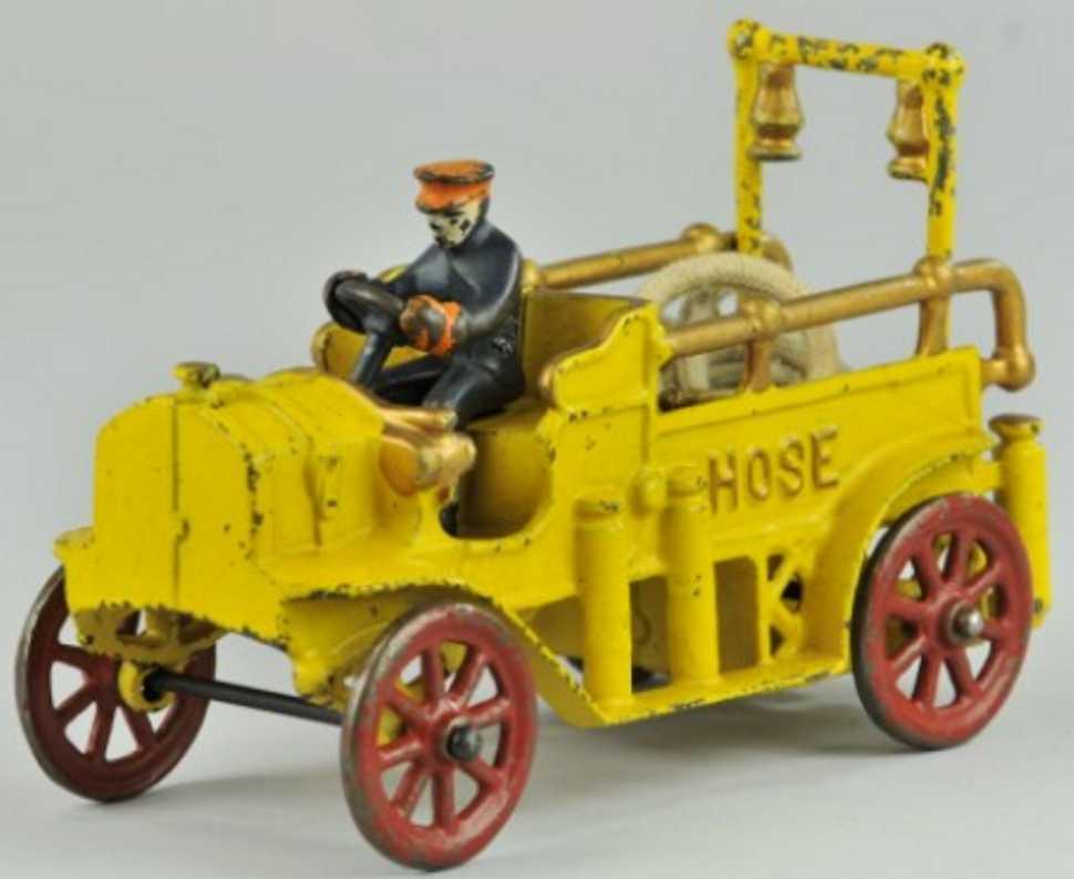 kenton hardware co 1977 spielzeug gusseisen schlauchwagen gelb