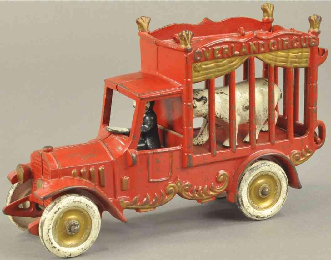 kenton hardware co 406 spielzeug gusseisen ueberlandzirkuswagen rot fahrer baer