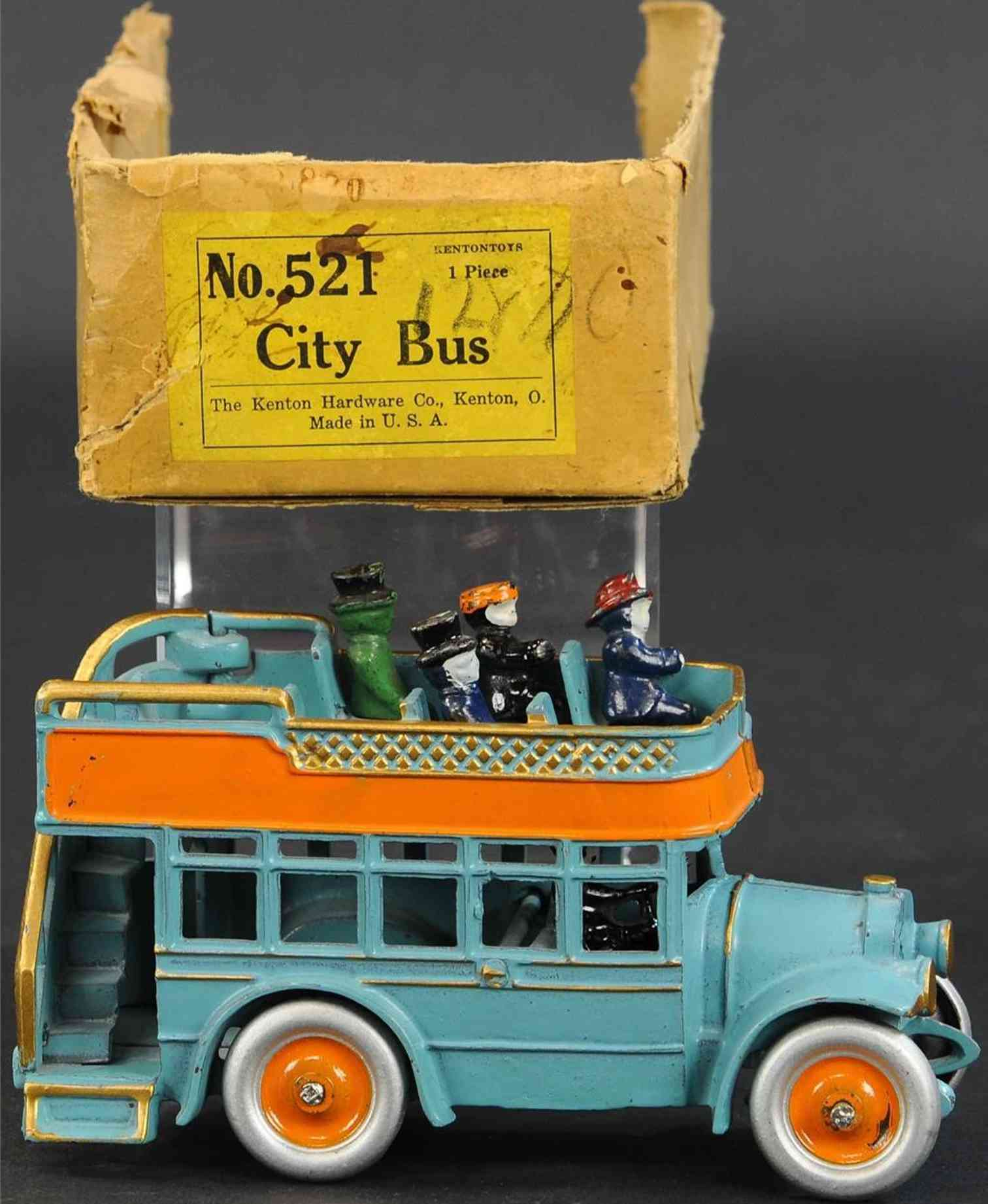 kenton hardware co 521 cast iron toy bus double decker bus #521, made of cast iron, painted sky blue