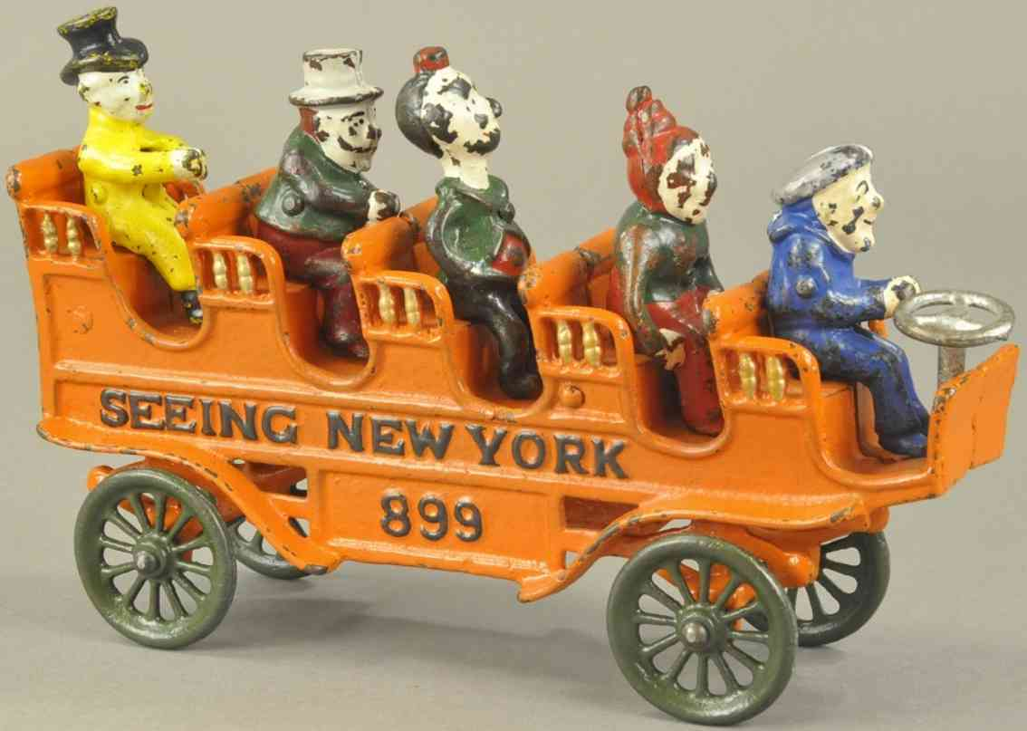 kenton hardware co 899 spielzeug gusseisen sightseeing bus new york orange fuenf komiker