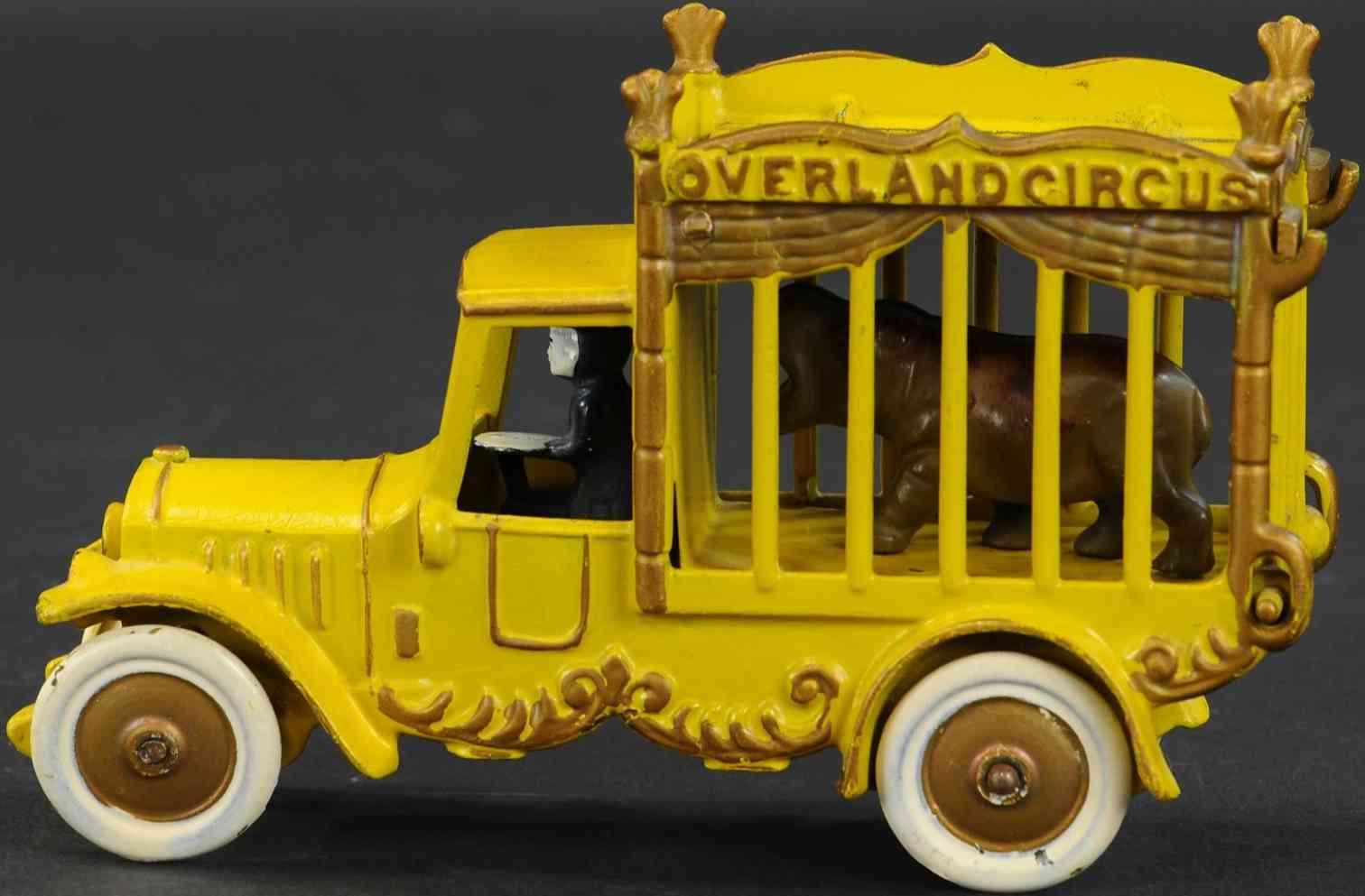 kenton hardware co cast iron toy overland circus cage truck yellow hippopotamus