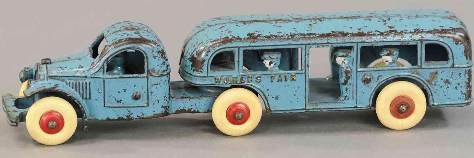 kenton hardware co world's fair spielzeug gusseisen tandembus der weltmesse blau