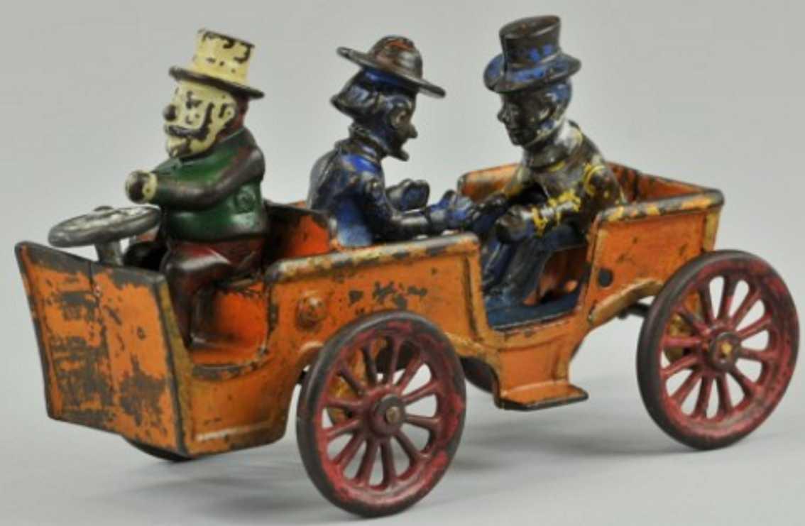 kenton hardware co cast iron toy car alphonse gaston automobile orange