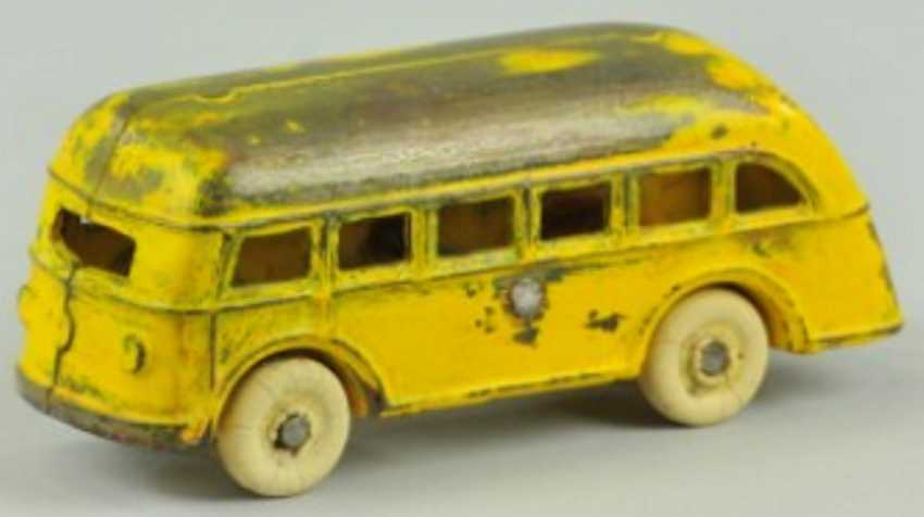 kenton hardware co cast iron toy bus  yellow