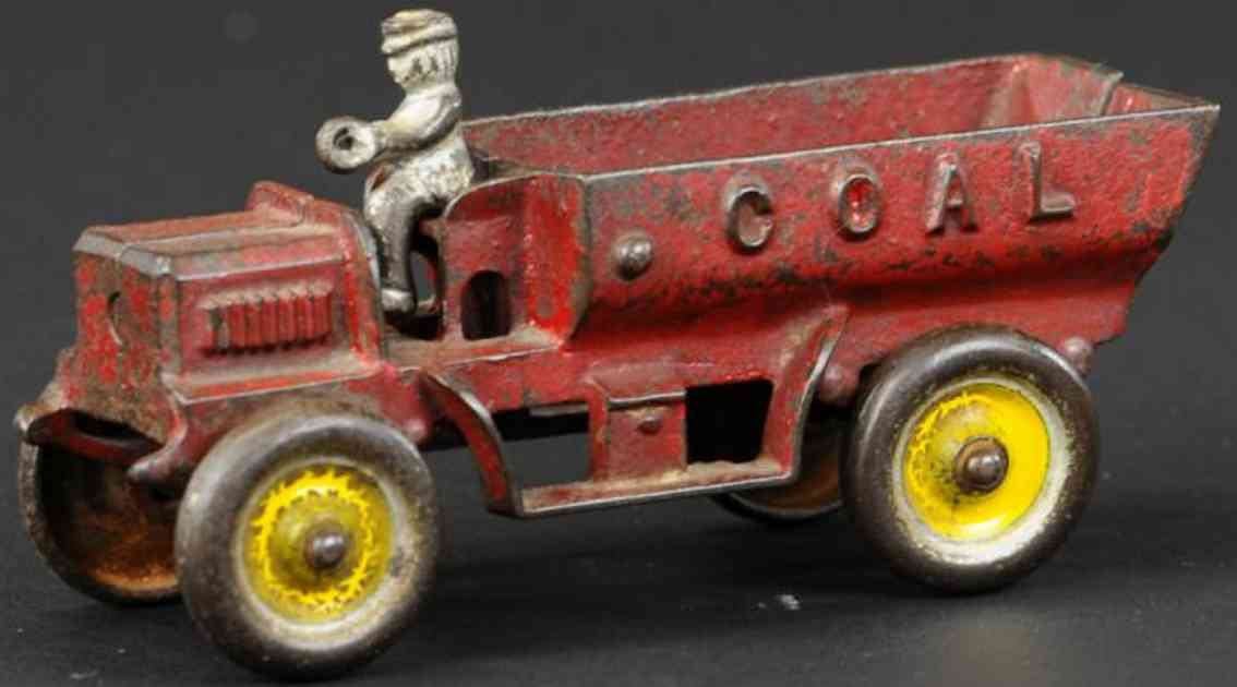kenton hardware cocast iron toy coal truck red driver