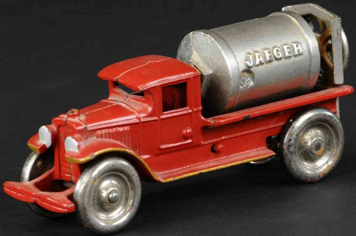 kenton hardware co cast iron toy jaeger cement mixer red