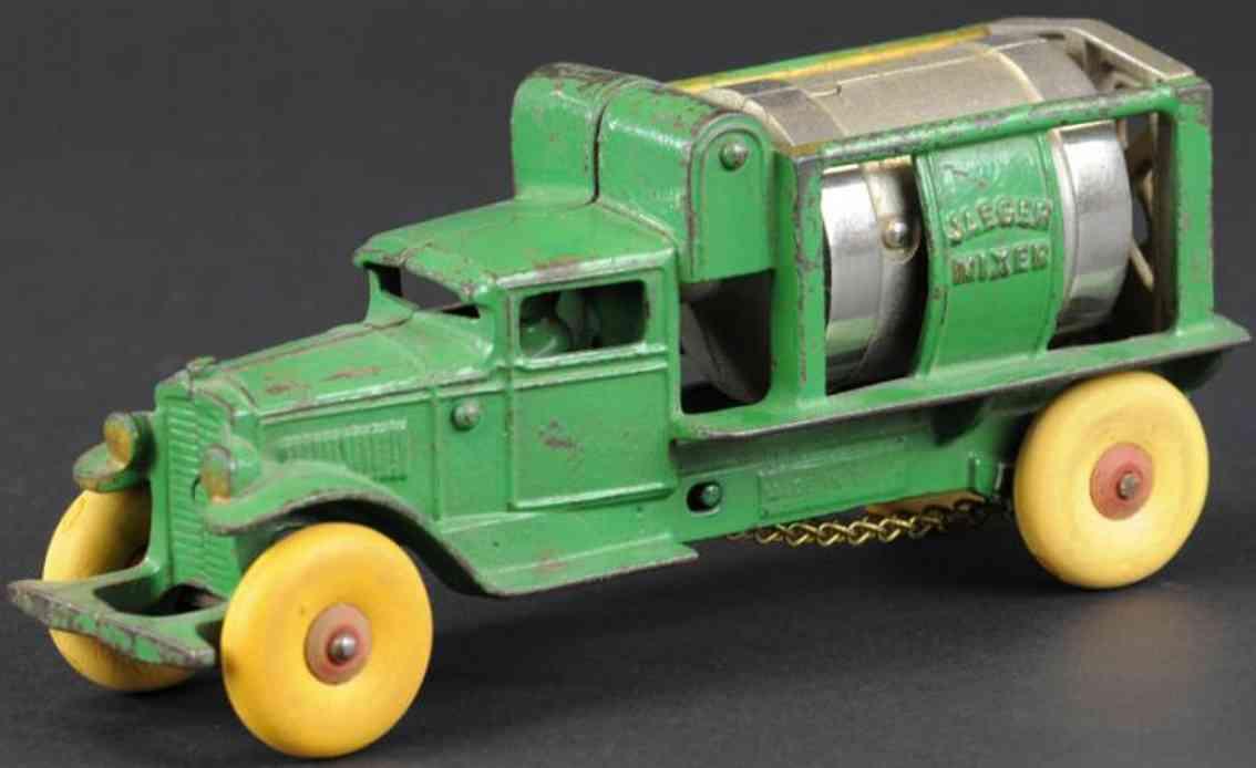 kenton hardware co cast iron jaeger cement mixer truck green