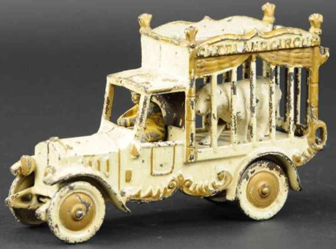 kenton hardware co cast iron toy circus cage truck white baer