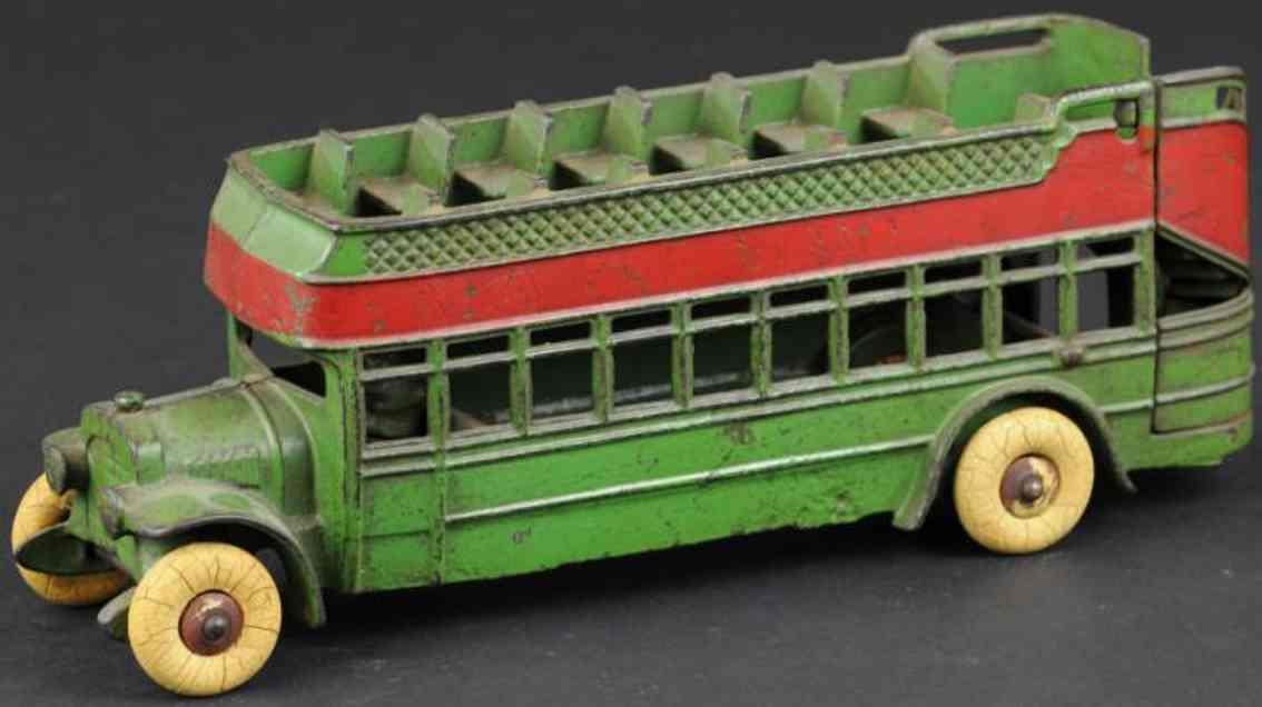 kenton hardware co cast iron toy bus city bus green
