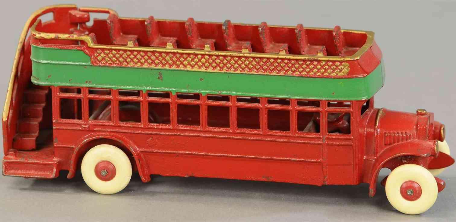 kenton hardware co spielzeug gusseisen stadtbus doppeldecker rot