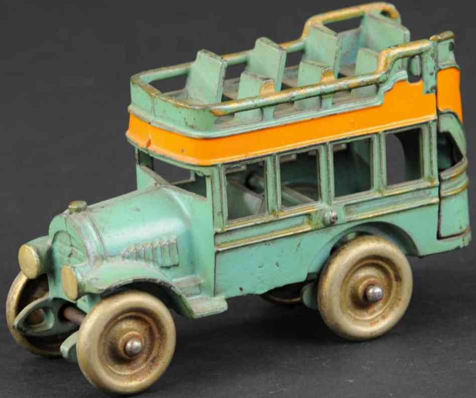 kenton hardware co cast iron toy city bus blue
