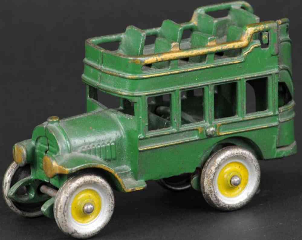 kenton hardware co cast iron toy city bus double decker green