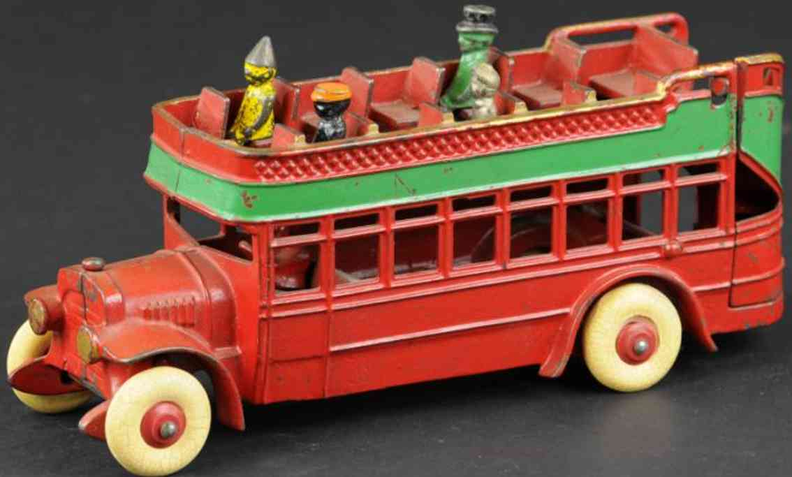 kenton hardware co cast iron toy city bus double decker red