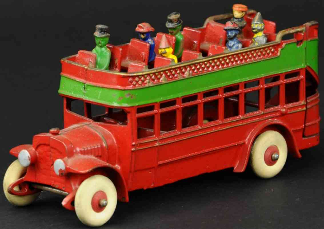 kenton hardware co cast iron toy city bus reddouble decker red