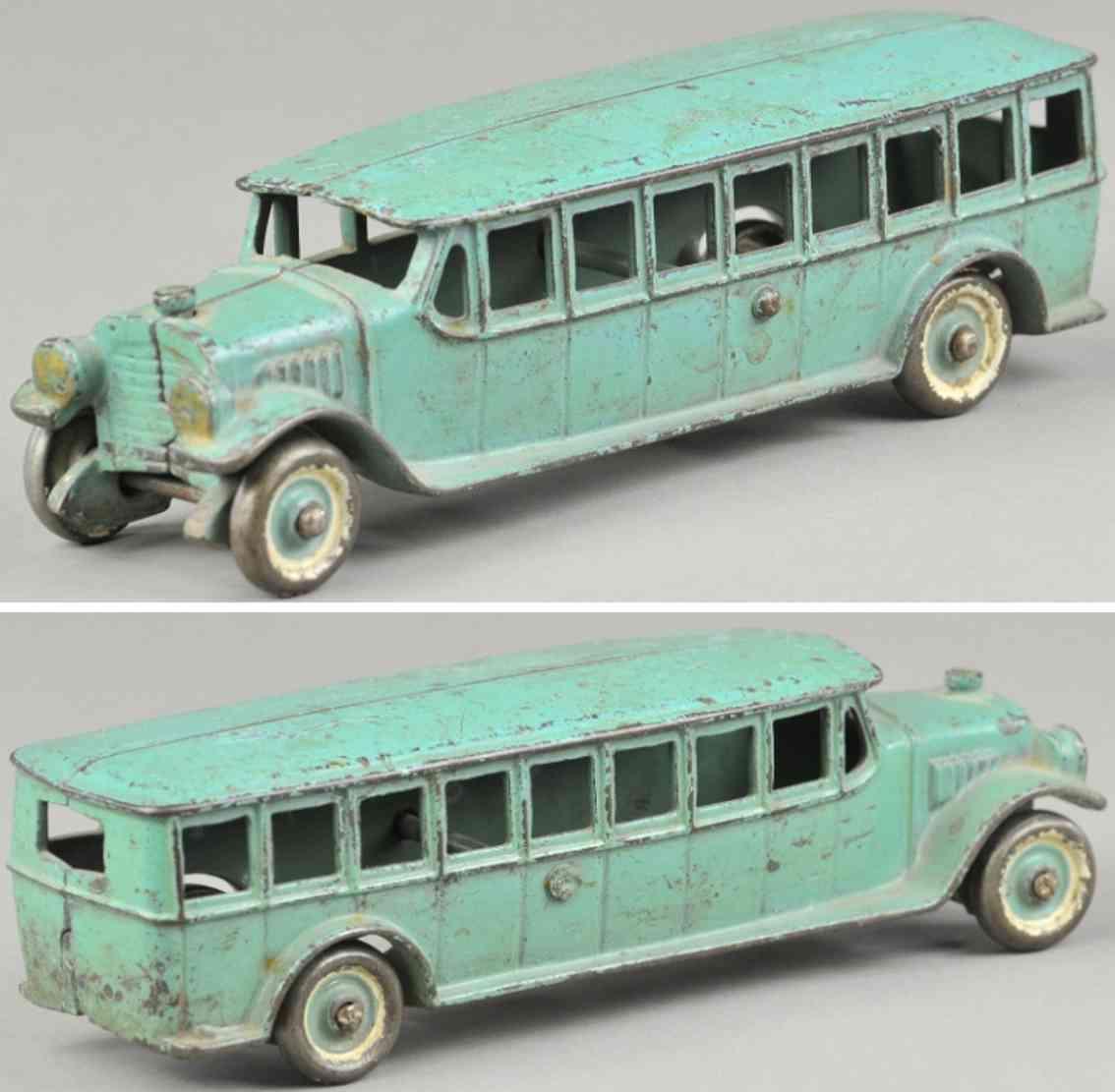 kenton hardware co cast iron toy coach bus blue
