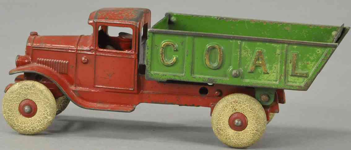 kenton hardware co cast iron toy coal truck red green