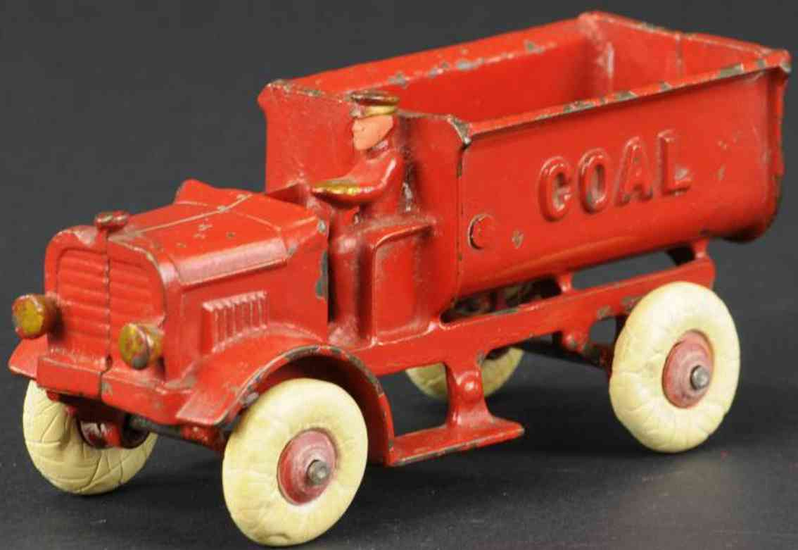 kenton hardware co cast iron toy coal truck driver red