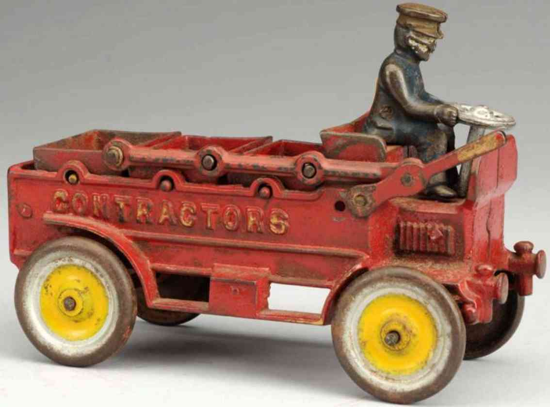 kenton hardware co cast iron toy ontractor's truck red