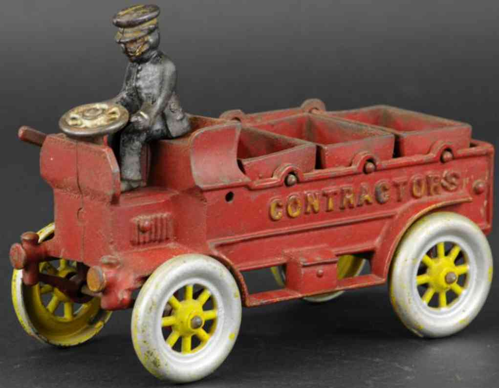 kenton hardware co cast iron toy truck red driver