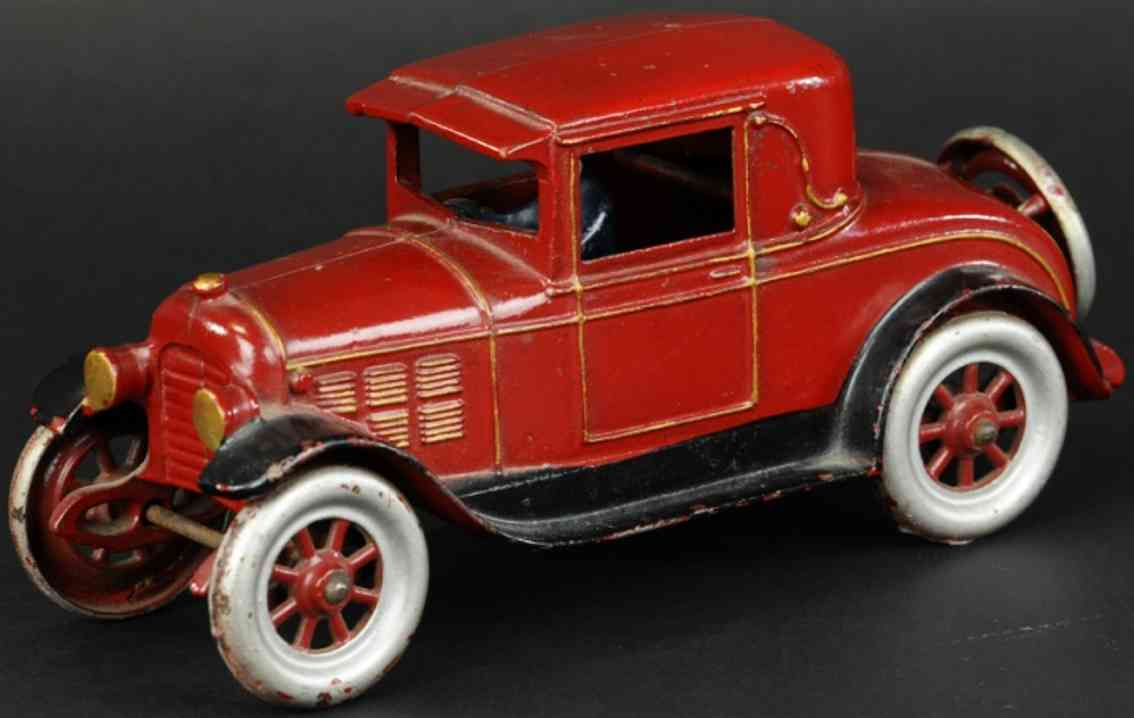 kenton hardware co cast iron toy car coupe red black