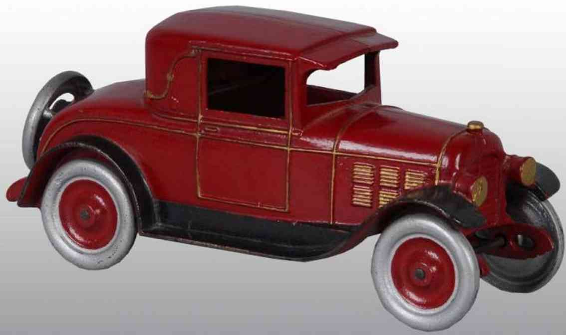 kenton hardware co cast iron toy car automobile coupe  red