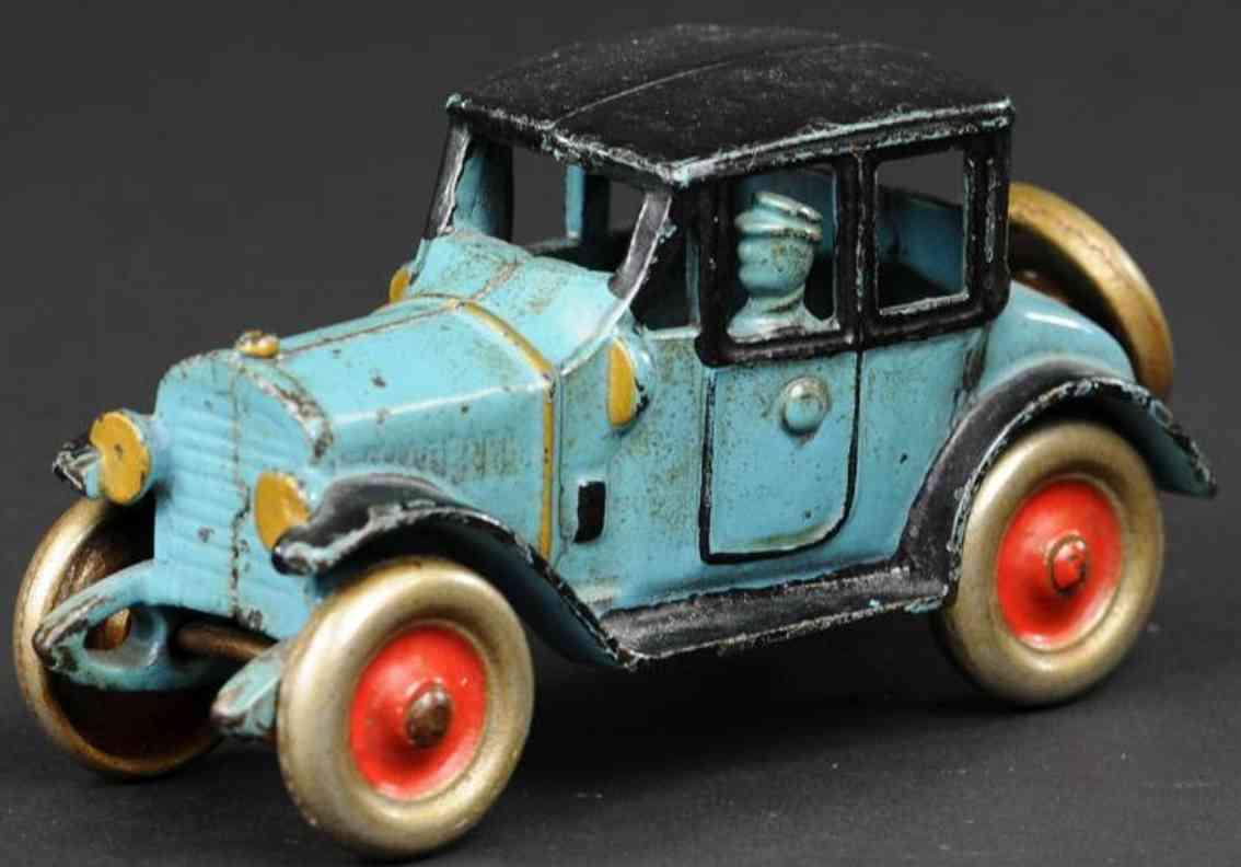 kenton hardware co cast iron toy car coupe blue black